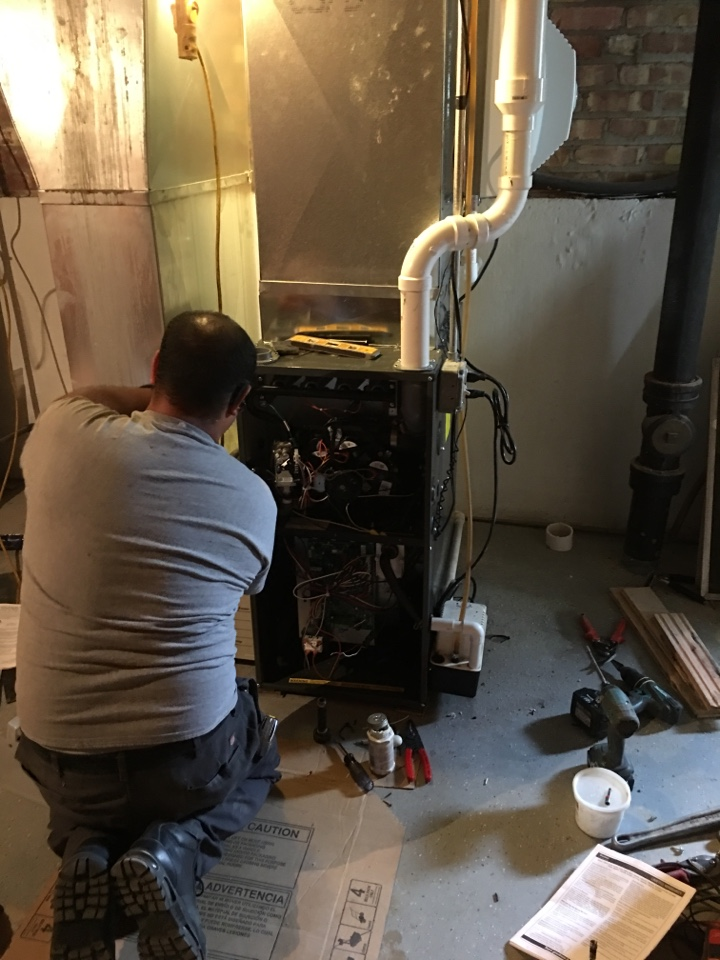 Just finish removing a Carrier furnace and installing A Goodman 96% two stage variable speed furnace let the savings begin. in Jarlath Ave, Skokie, IL, USA.